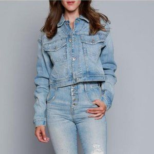 NWT Jonathan Simkhai  Denim Cropped Jacket